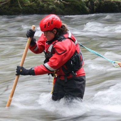 A member of the team training for water rescue