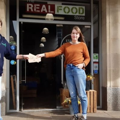 Real Food Store customers raise almost £100 for Exeter Foodbank