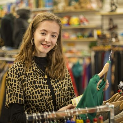 Exeter University student Niamh O'Riordan-Mitchell volunteers in the Children's Hospice South West charity shop in Sidwell Street, Exeter. Picture: Tim Lamerton Photography