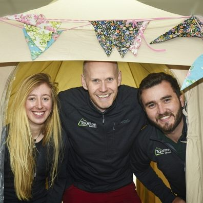 Getting ready for the free Tent Show at Westpoint, Exeter Gaby Fielding, Sales Assistant, Matt Bowen, Sales Assistant and Dom Dib-Holland, Customer Service Advisor from Taunton Leisure.